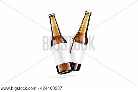 Blank Brown Glass Beer Bottle White Label Mockup, No Gravity, 3d Rendering. Empty Amber Drink Pack W