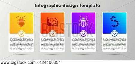 Set Larva Insect, Snail, Stink Bug And Worm. Business Infographic Template. Vector