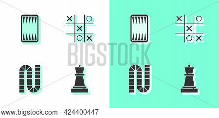 Set Chess, Backgammon Board, Board Game And Tic Tac Toe Icon. Vector
