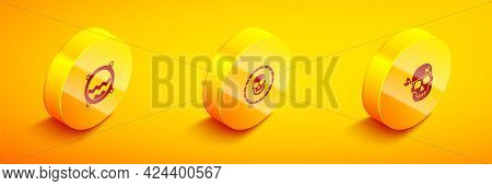Set Isometric Ship Porthole With Seascape, Pirate Coin And Skull Icon. Vector