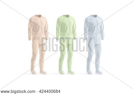 Blank Colored Sport Tracksuit With Bomber, Pants And Sneakers Mockup, 3d Rendering. Empty Pink, Gree