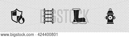 Set Fire Protection Shield, Escape, Boots And Hydrant Icon. Vector