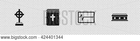 Set Grave With Cross, Holy Bible Book, Beat Dead In Monitor And Coffin Icon. Vector