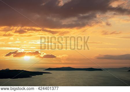 Santorini Island, Cyclades, Greece. Sunset Over Agean Sea