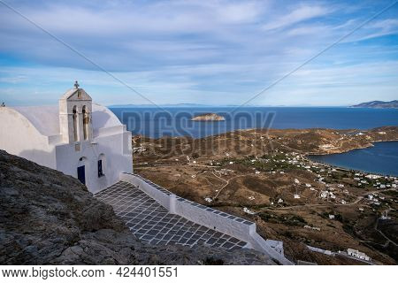 Serifos Island, Greece, Cyclades, Aerial Drone View Of Livadi Village And Port