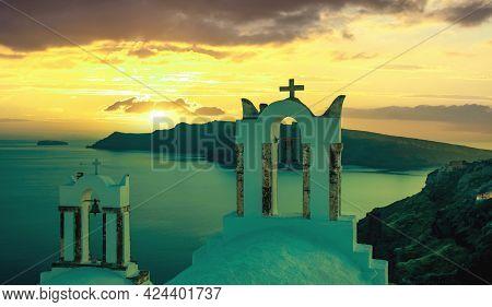Santorini Island, Greece. Oia Caldera Over Aegean Sea, Sky At Sunset, Calm Sea