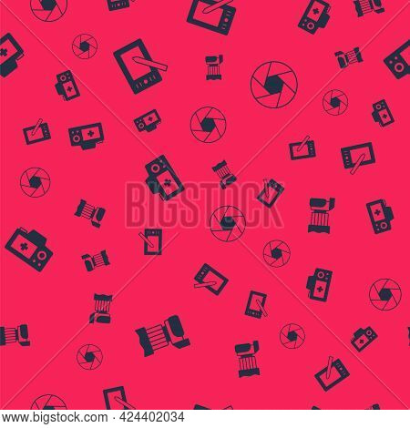 Set Photo Camera, Graphic Tablet, And Camera Shutter On Seamless Pattern. Vector