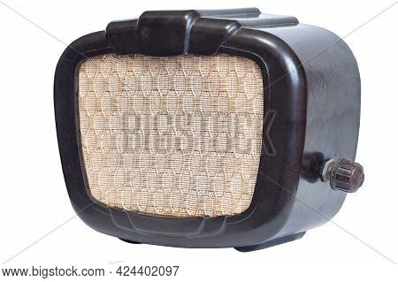 Retro Radio Loudspeaker Isolated On White Background
