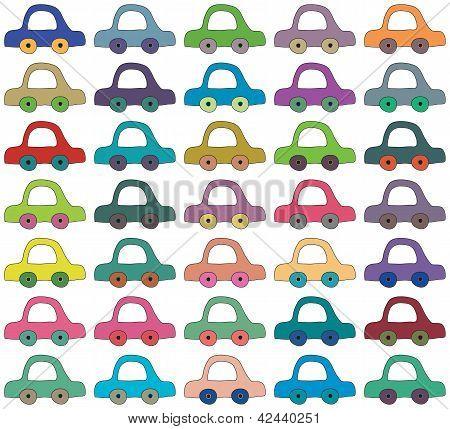 Seamless Vector Background, Cartoon Cars