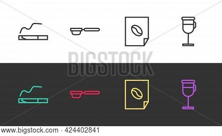 Set Line Cigarette, Coffee Filter Holder, Poster And Irish Coffee On Black And White. Vector