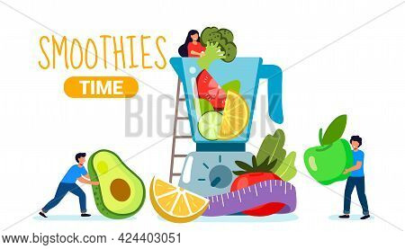 Smoothie Time Making Healthy Drink Blender For Vegetables Preparation Of Natural Organic Juices And