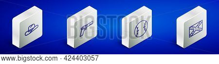 Set Isometric Line Western Cowboy Hat, Pistol Or Gun, Baseball Ball And Flag Confederate Icon. Vecto