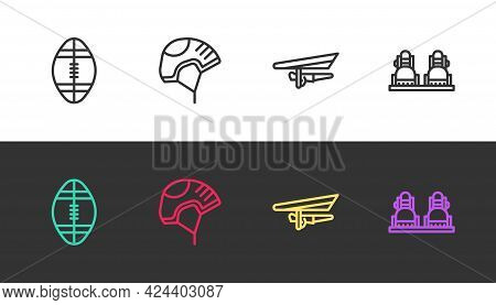 Set Line Rugby Ball, Helmet, Hang Glider And Snowboard On Black And White. Vector