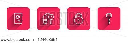 Set Line Safe, House With Key, Lock And Key With Long Shadow. Red Square Button. Vector