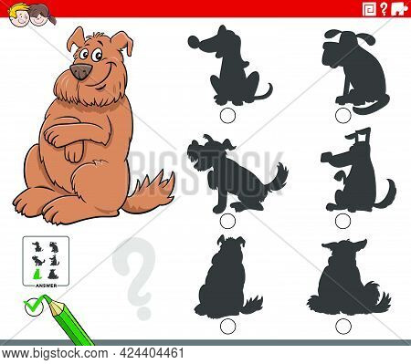 Cartoon Illustration Of Finding The Right Shadow To The Picture Educational Game For Children With F