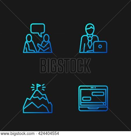 Set Line Chat Messages On Laptop, Mountains With Flag, Two Sitting Men Talking And Businessman. Grad