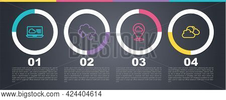 Set Line Weather Forecast, Cloud With Rain, Location Cloud And Sun And Weather. Business Infographic