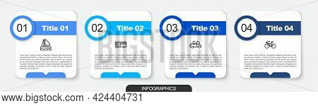 Set Line Yacht Sailboat, Bus, Delivery Truck And Bicycle. Business Infographic Template. Vector