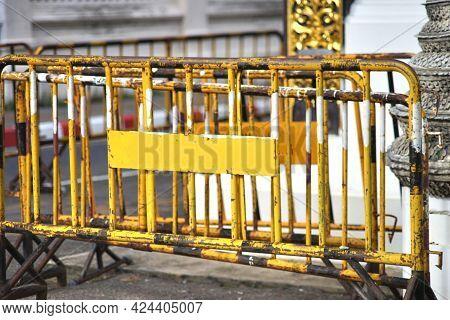 Steel Barricades Blocking Traffic On The Road