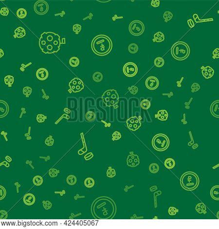 Set Line Moon With Flag, Ice Hockey Stick And Puck And Rouble, Ruble Currency On Seamless Pattern. V