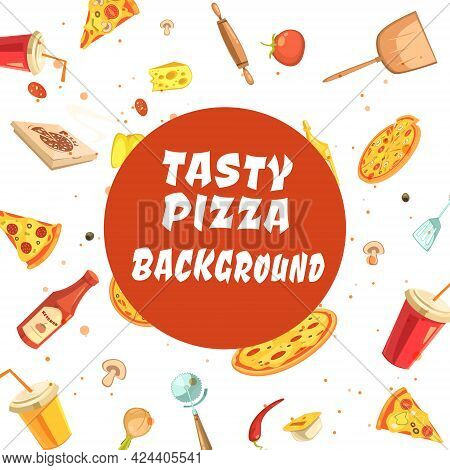 Pizza Making Set Seamless Pattern With White Inscription Tasty Pizza Background On Red Round In Cent