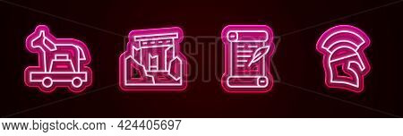 Set Line Trojan Horse, Ancient Ruins, Decree, Parchment, Scroll And Greek Helmet. Glowing Neon Icon.