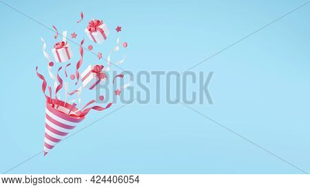 Party Popper With Flying Confetti And Gift Boxes 3d Render Illustration.