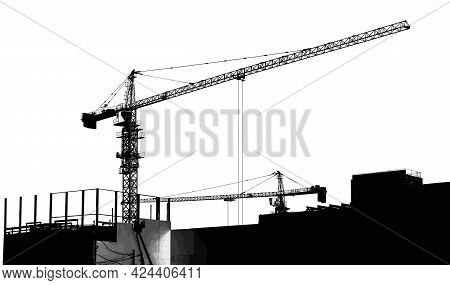 Cranes Are Working At A Construction Site. A Huge Building Is Being Erected With The Help Of Tower C