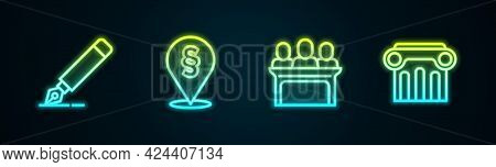 Set Line Fountain Pen Nib, Location Law, Jurors And Law Pillar. Glowing Neon Icon. Vector