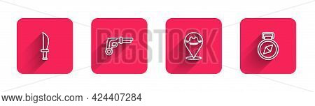 Set Line Pirate Sword, Vintage Pistols, Location Pirate And Compass With Long Shadow. Red Square But