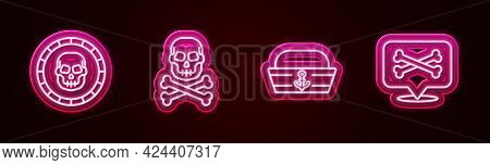 Set Line Pirate Coin, Skull On Crossbones, Sailor Hat And Location Pirate. Glowing Neon Icon. Vector