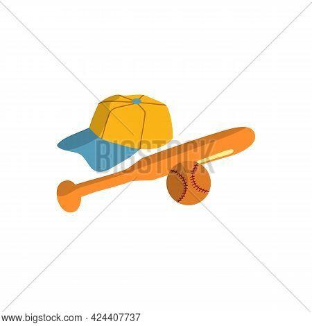 Baseball Baseball Crossed Bats With Ball. Baseball Flat Vector Illustration