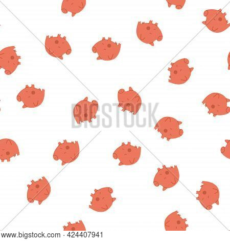 A Repeating Pattern With Pink Piggy Banks. Financial Education. Vector Fully Editable Isolated Illus