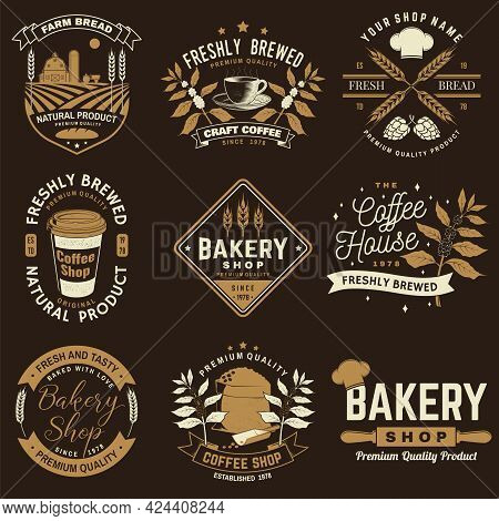 Set Of Coffe Shop And Bakery Shoplogo, Badge Template. Vector. Design With Dough, Wheat Ears, Old Ov