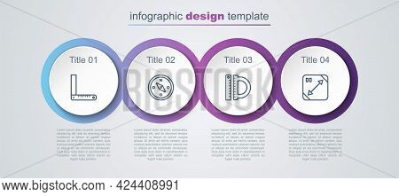 Set Line Corner Ruler, Compass, Protractor And And Diagonal Measuring. Business Infographic Template