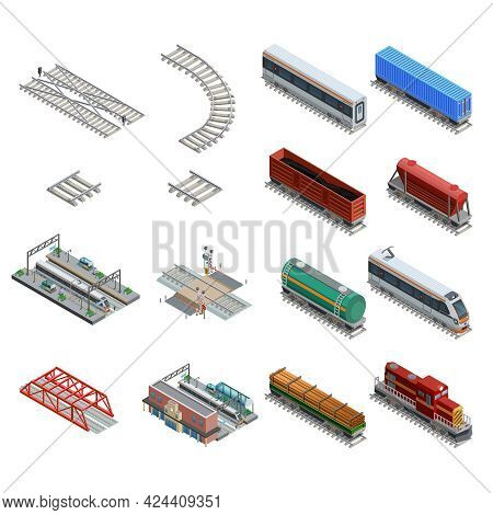 Isometric Icons Set Of Different Train Station Elements Like Rails Railway Carriage Locomotive And O