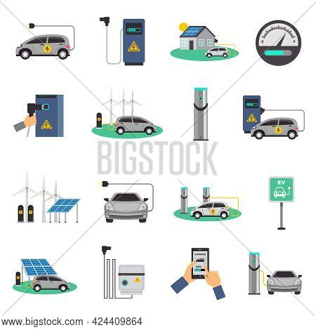 Electric Car Charging Public Network Service Stations And Individual Recharging Points Flat Icons Co