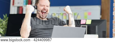 Joyful Disabled Streamer Plays Online Games Closeup