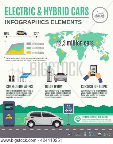 Electric Vehicle And Hybrid Cars Market Growth Infographic Elements Flat Poster With Clean Electrici