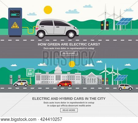 Electric And Hybrid Cars In City 2 Flat Banners Webpage Design On Green Energy Information Isolated
