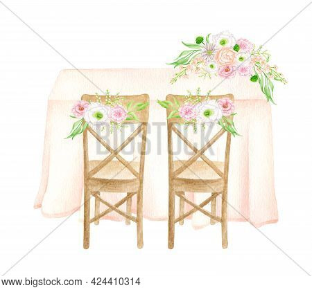 Watercolor Wedding Table Back View Illustration. Hand Painted Draped Sweetheart Table With Cloth, Wo