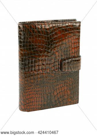 New Dark Brown Wallet Of Genuine Reptile Skin Leather. Without Shadows. Isolated On White  Backgroun