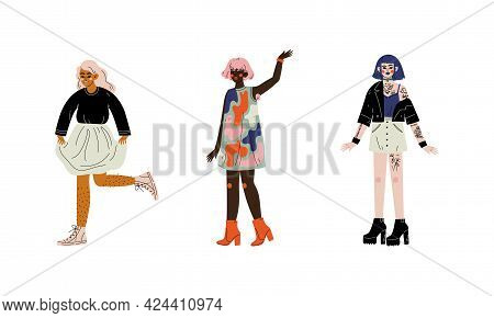 Young Diverse Woman Standing Loving Their Body And Appearance As Self Acceptance Vector Set
