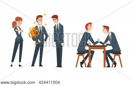 Business Competition And Rivalry With Man Arm Wrestling And Gaining Award Vector Set
