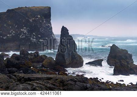 Black rocks at the Iceland coast at Reykjanes peninsula