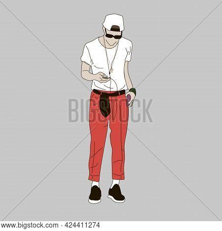 Vector Illustration Of Kpop Street Fashion. Street Idols Of Koreans. Kpop Men's Fashion Idol.a Guy W