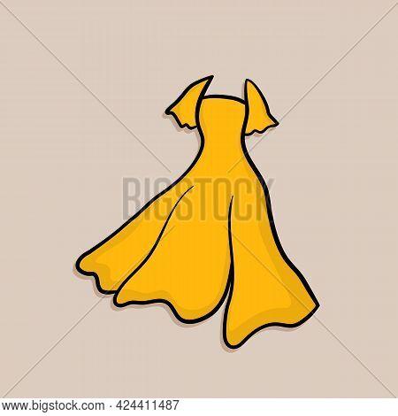 Lovely Feminine Elegant Beautiful Yellow Dress. Trendy Dresses Icon. Women Cloth Element. Feminine S