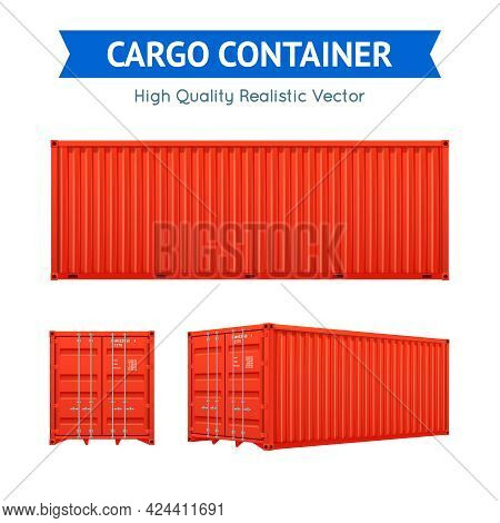 Red Cargo Freight Container From Side And Isometric Views Set Isolated On White Background Realistic
