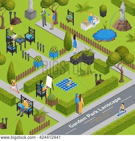 Garden Park Landscape With Grass Green Fence And Plants Chairs And Table For Visitors Isometric Vect