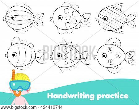 Handwriting Practice Sheet With Fishes. Educational Children Game. Tracing Lines. Early Education Wo